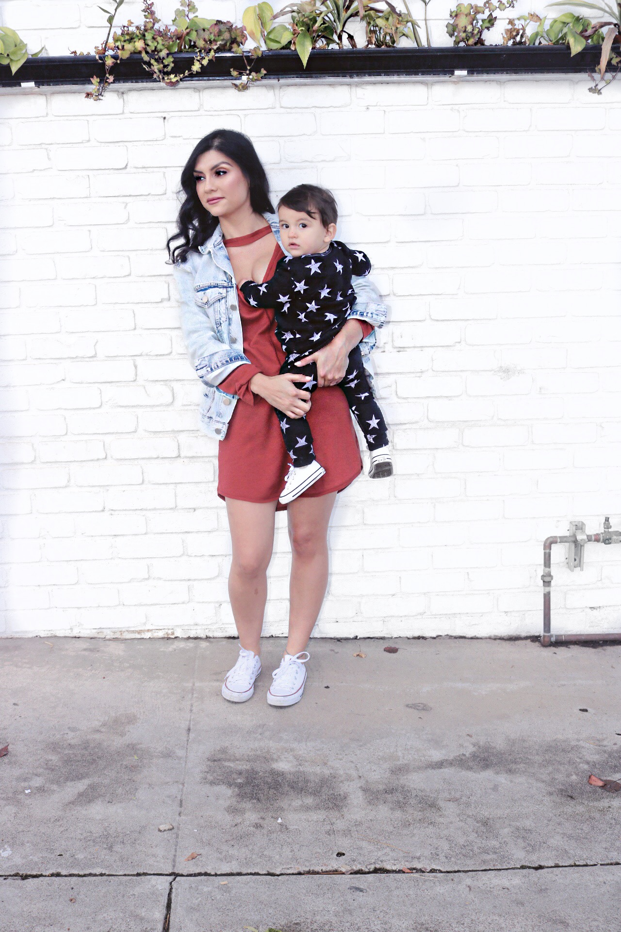 Mommy and me street style - baby boy joggers and pullover.