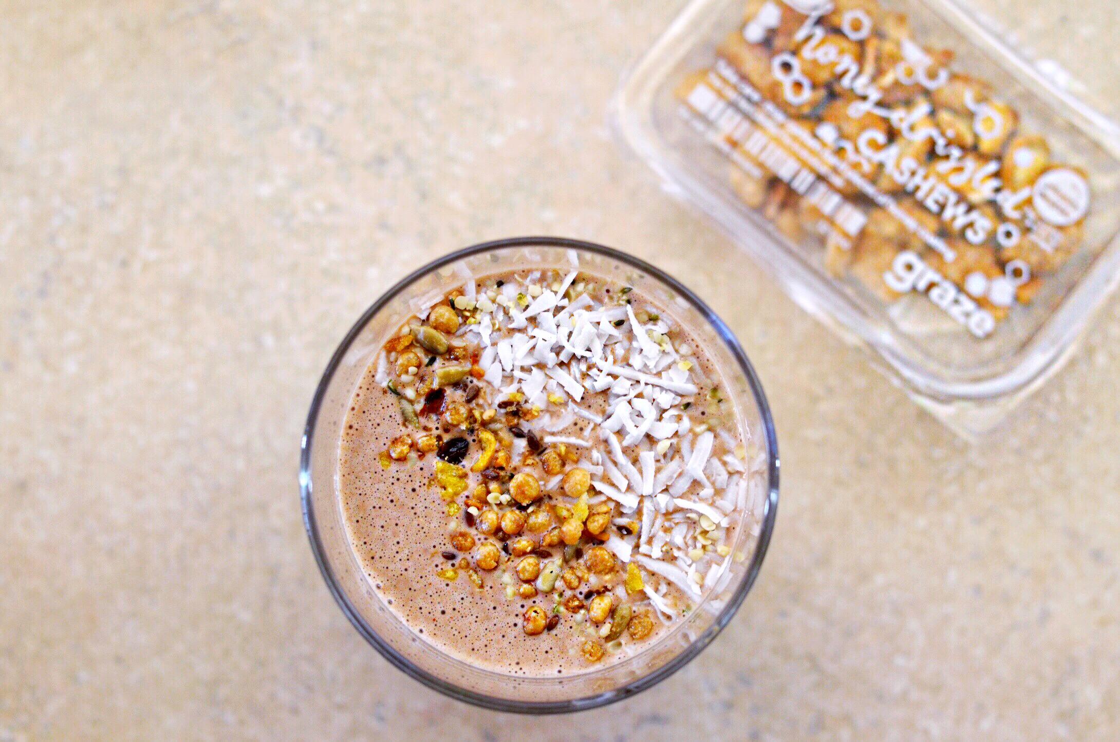 Cocoa + Almond Butter + Casher Milk + Oatmeal Shake