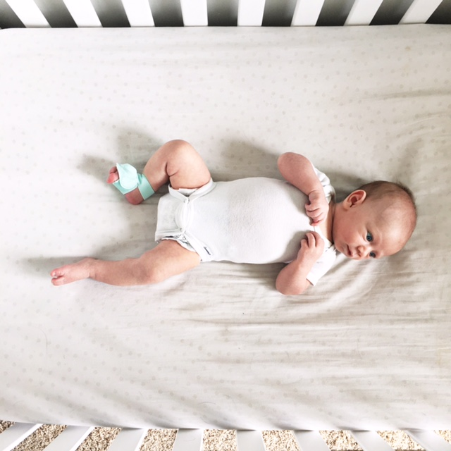 Lot801 Palms Swaddle + Owlet baby sock