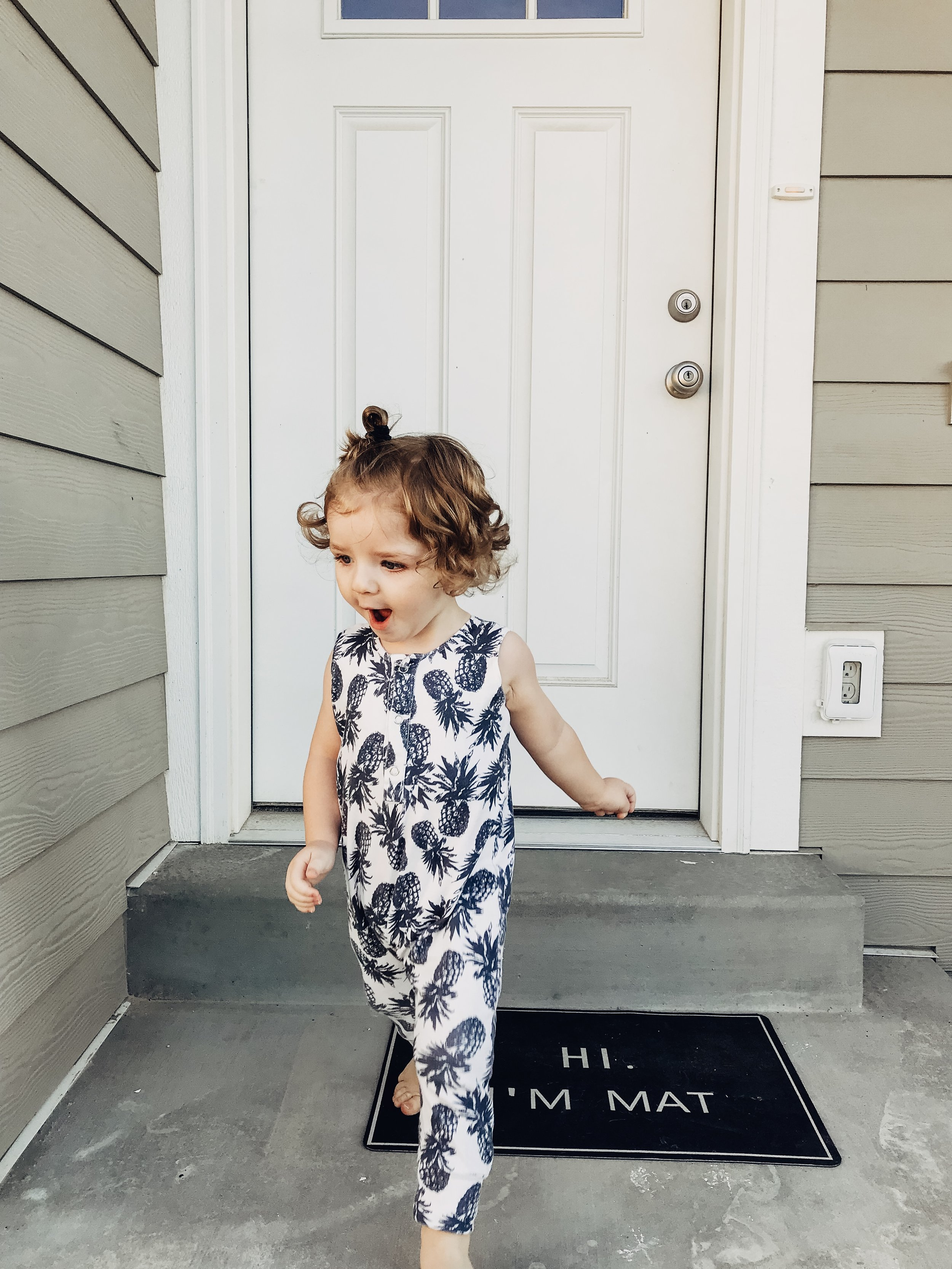 Lot801 baby and toddler organic pineapple henley romper