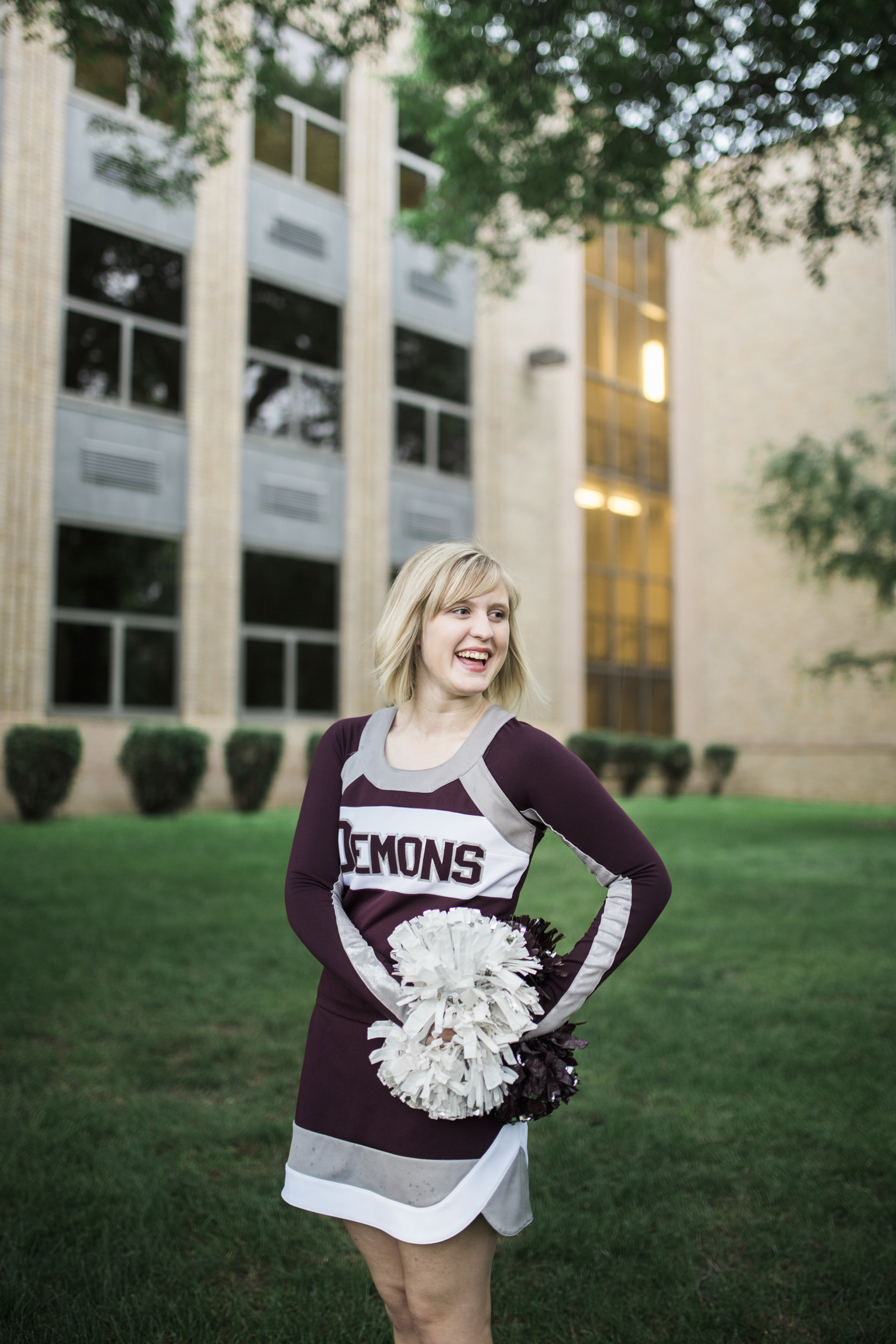 Megan loves cheerleading so we went to where she cheers at her high school.
