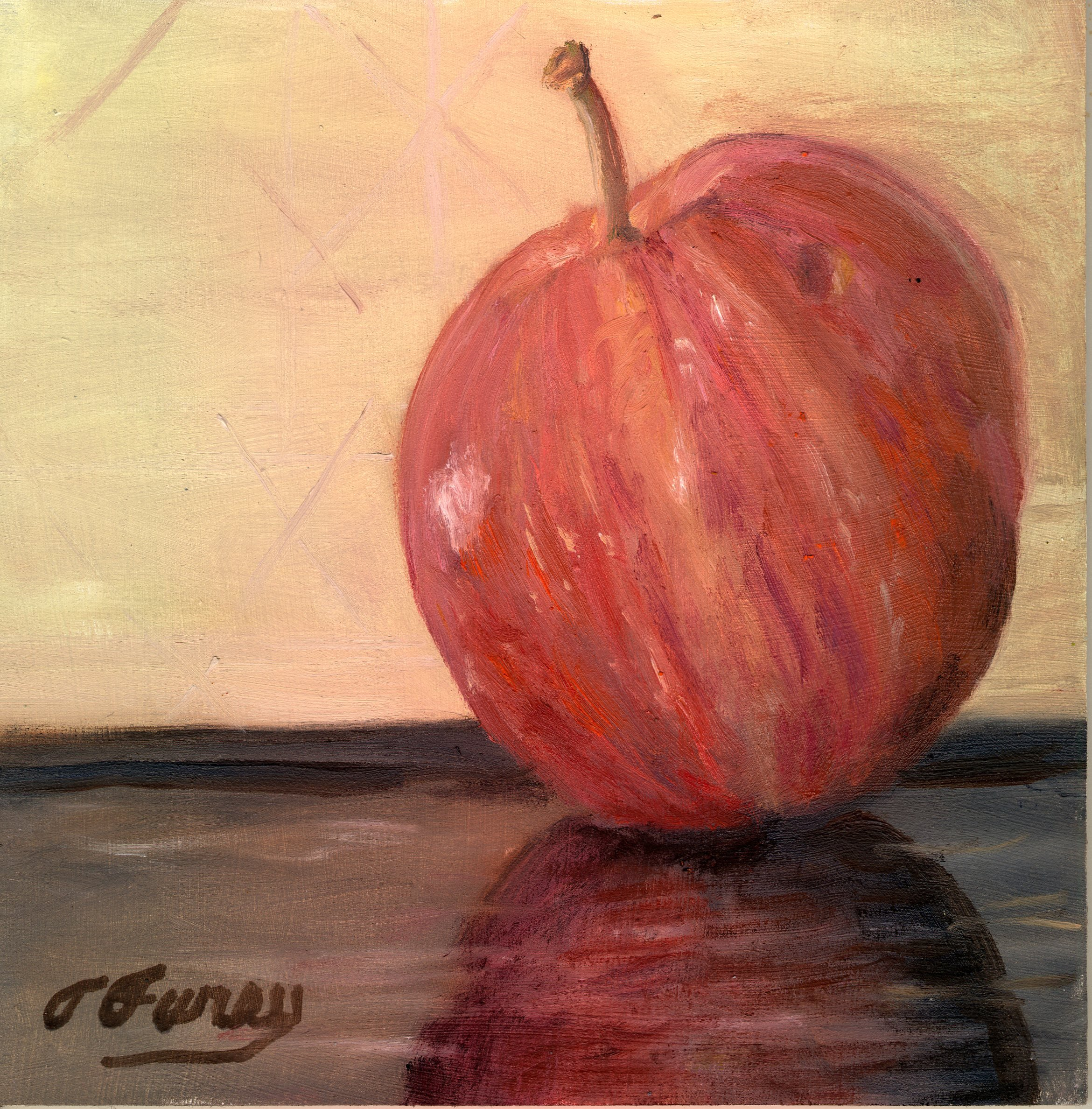"Apple a Day, 8  x  8"" , Oil on Board"