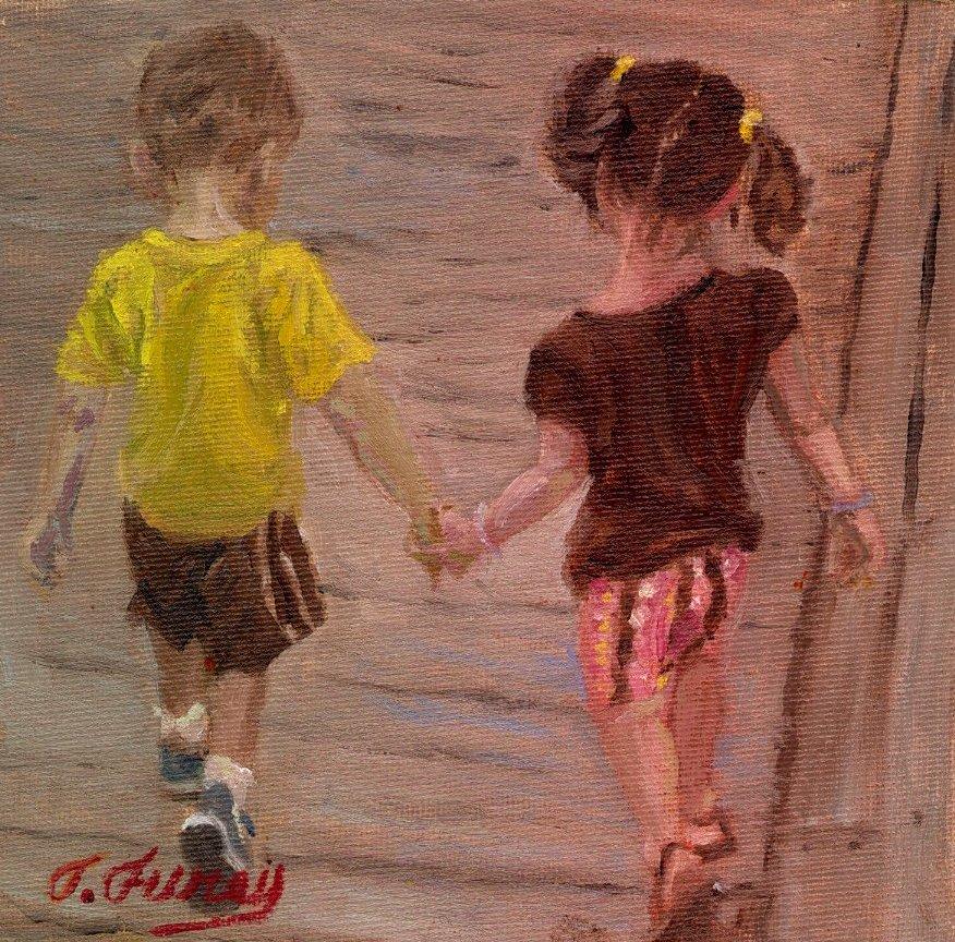 """BOARD WALK, Alla Prima Oil Painting on Panel, 6"""" x 6""""."""