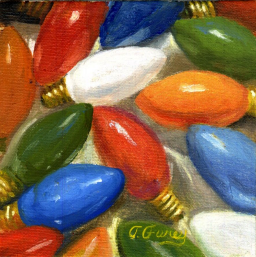 "CHRISTMAS LIGHTS, Alla Prima Oil Painting on Panel, 6"" x 6""."