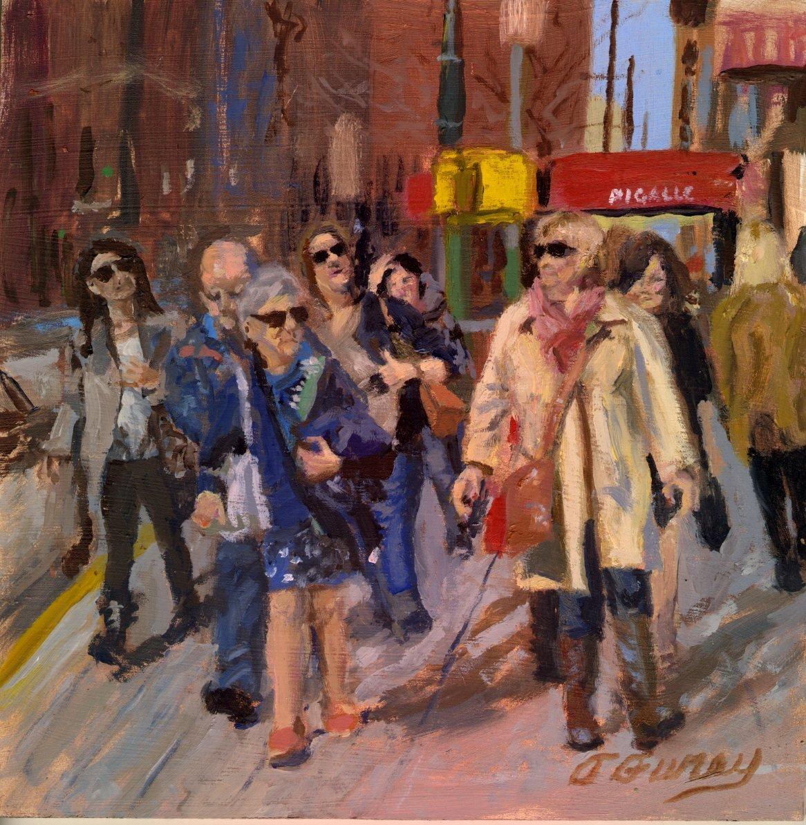 "City Challenge, Alla Prima Oil Painting on Board, 8"" x 8""."