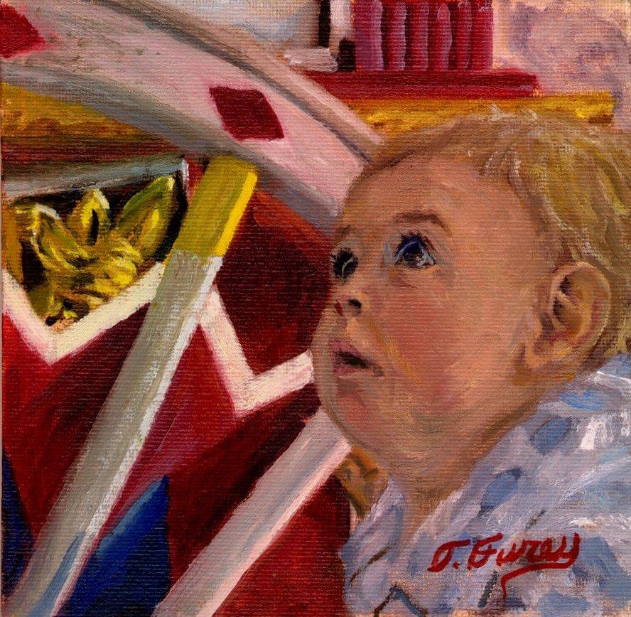 "My Grandson Greyson, 6 x 6"", Oil on Panel"