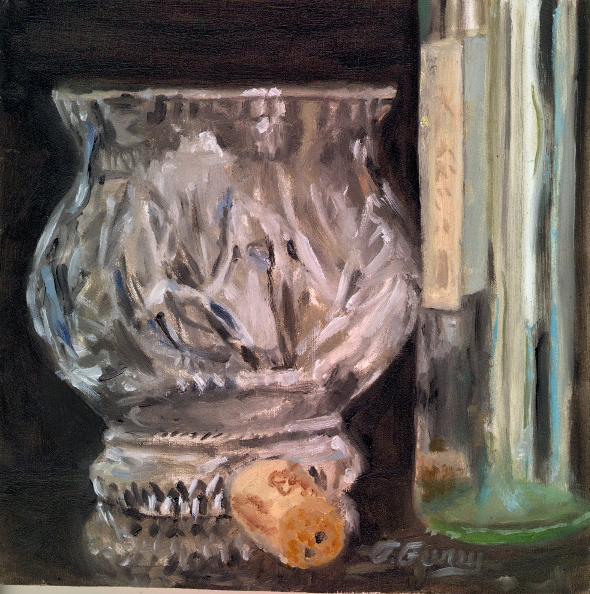 "Wine And Crystal, Alla Prima Oil Painting on Board, 8"" x 8""."
