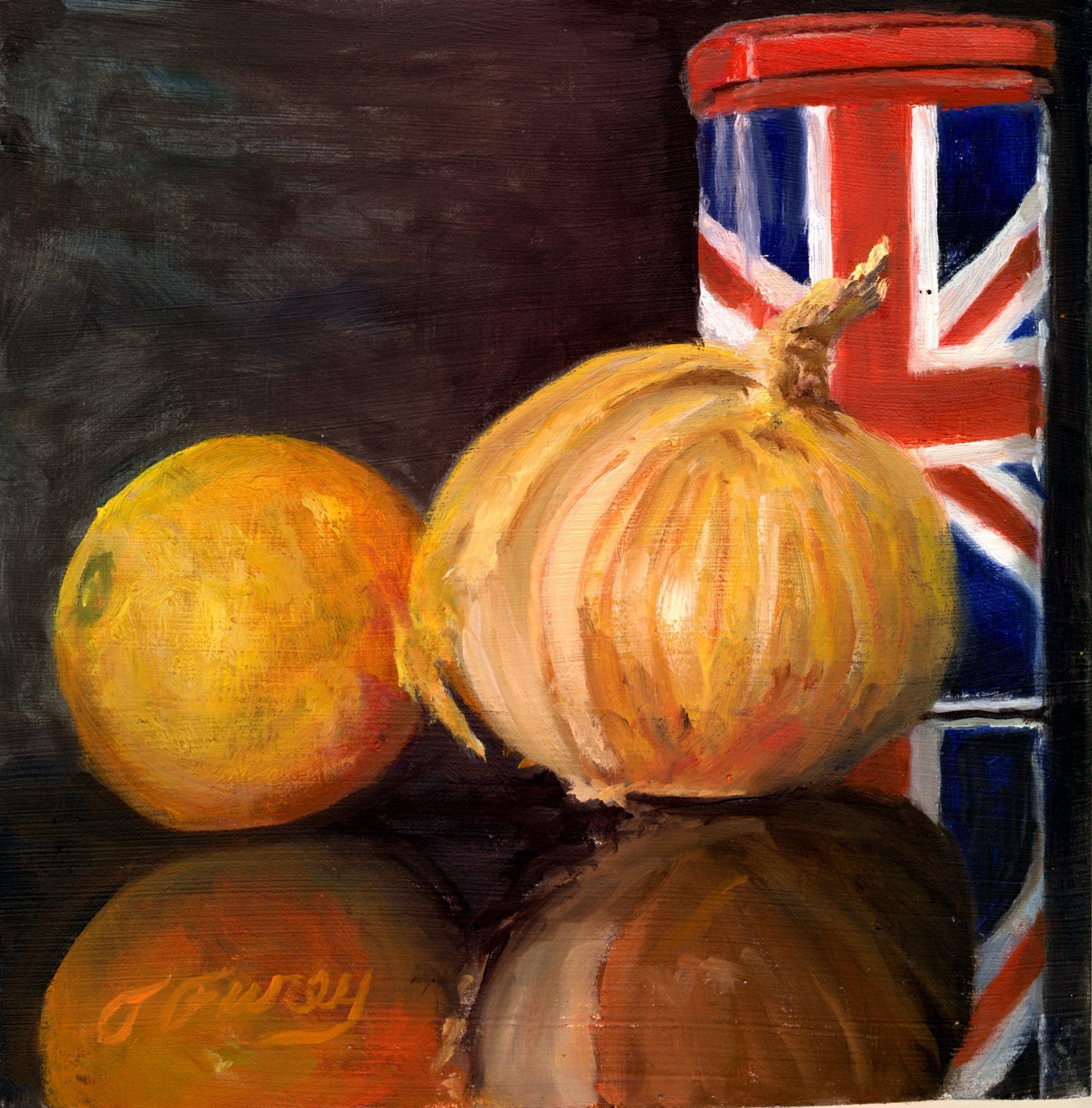 """British Coffee Orange and Onion, Alla Prima Oil Painting on Board, 8"""" x 8""""."""