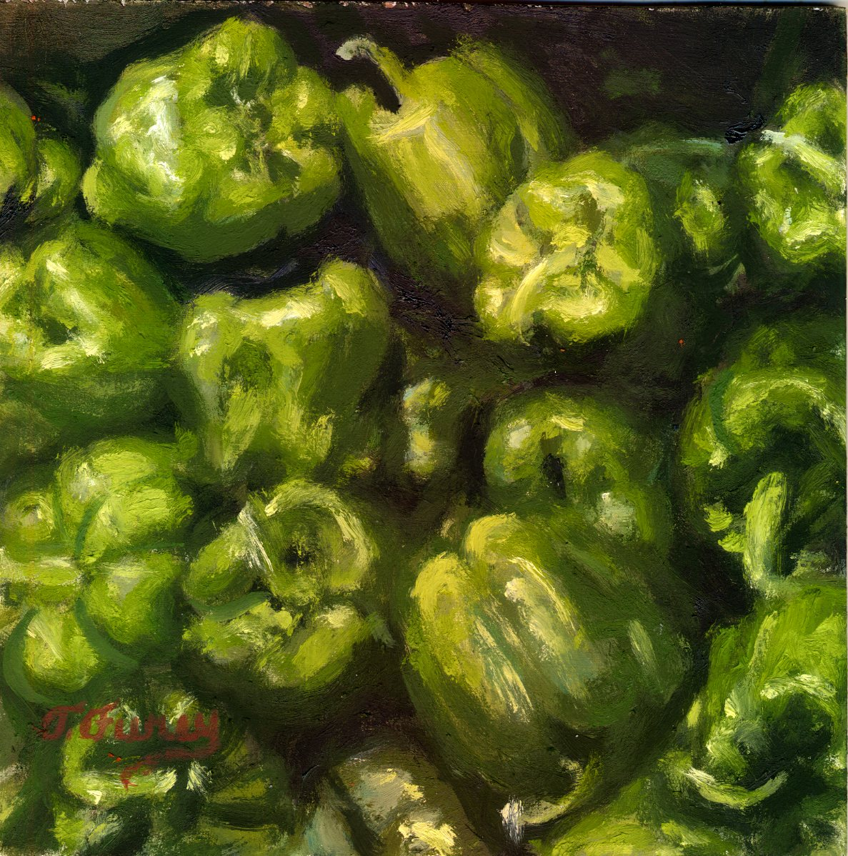 "Pepper Gang, Alla Prima Oil Painting on Board, 8"" x 8""."