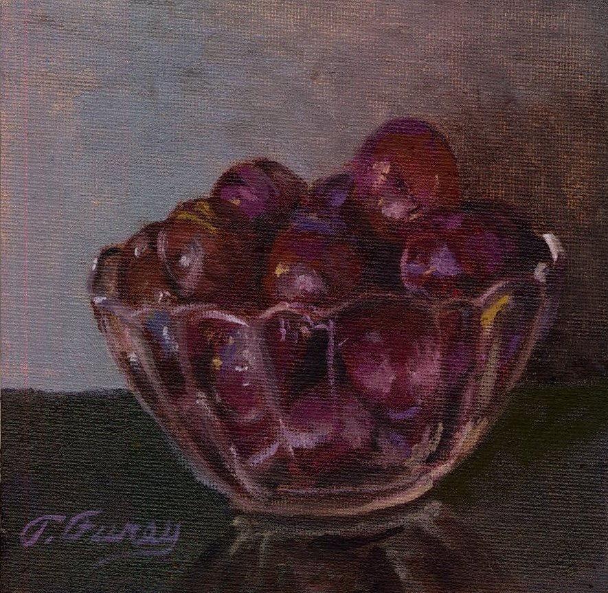 "RED GRAPES IN GLASS CUP, Alla Prima Oil Painting on Board, 6"" x 6""."