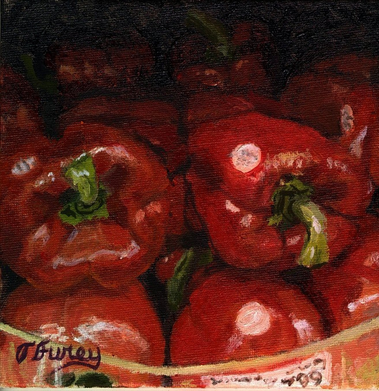 "RED PEPPERS, Alla Prima Oil Painting on Panel, 6"" x 6""."