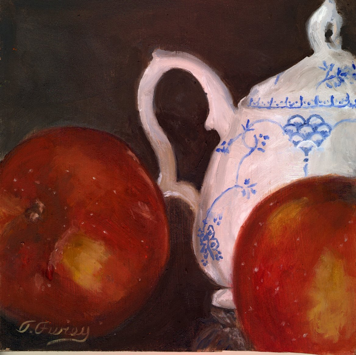 "Sugar Bowl and Apples, Alla Prima Oil Painting on Board, 8"" x 8""."