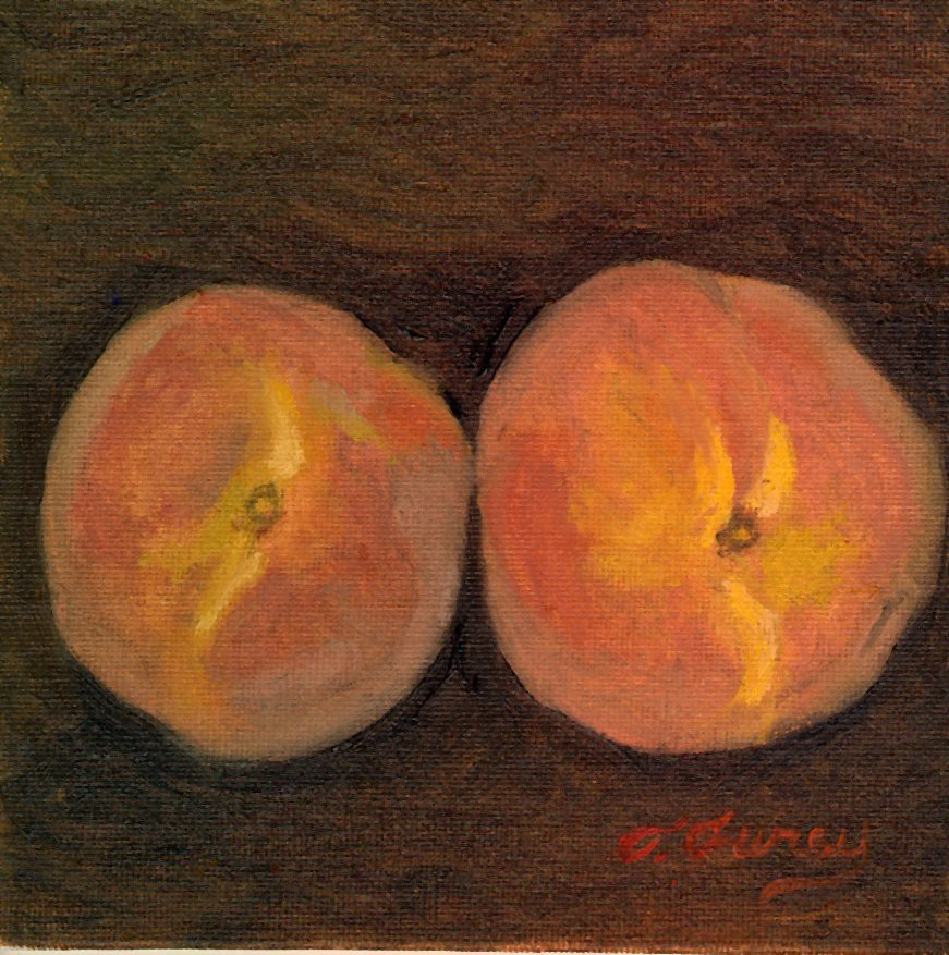 "Two Peaches, Alla Prima Oil Painting on Panel, 6"" x 6""."