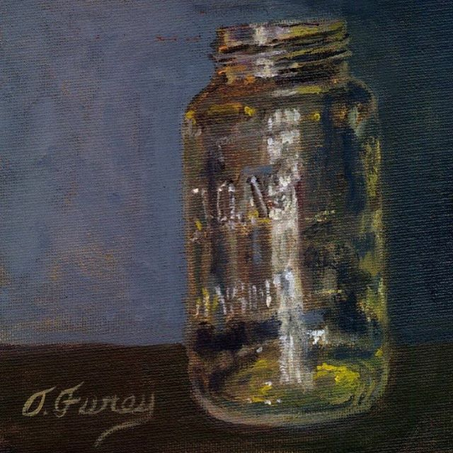 #Allaprima Atlas Mason Jar, 6x6 oil on board #oils #oilpainter #buckscounty #buckscountyartist #fineart #Masonjar #artist #PA #tomfureyartist