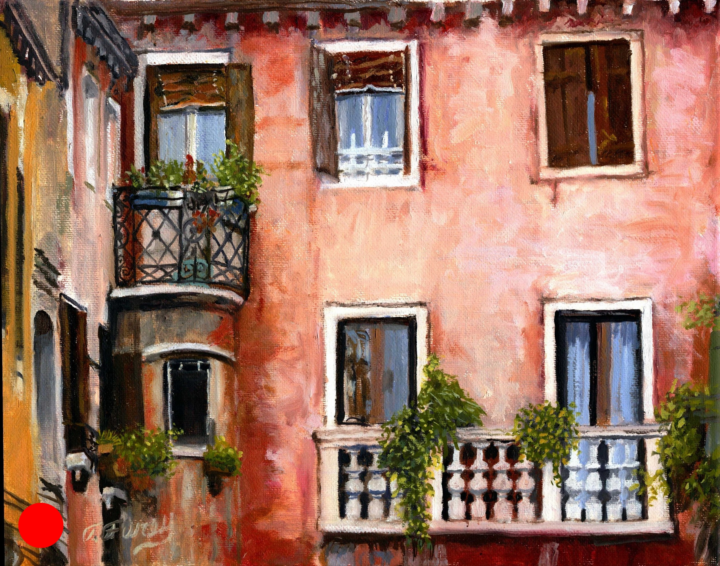 "Balcony Challenge, Alla Prima Oil Painting on Canvas, 11"" x 14""."