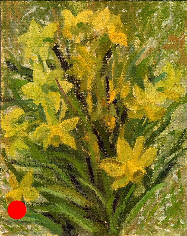 "Dafodills"", Alla Prima Oil Painting on panel, 8"" x 10""."