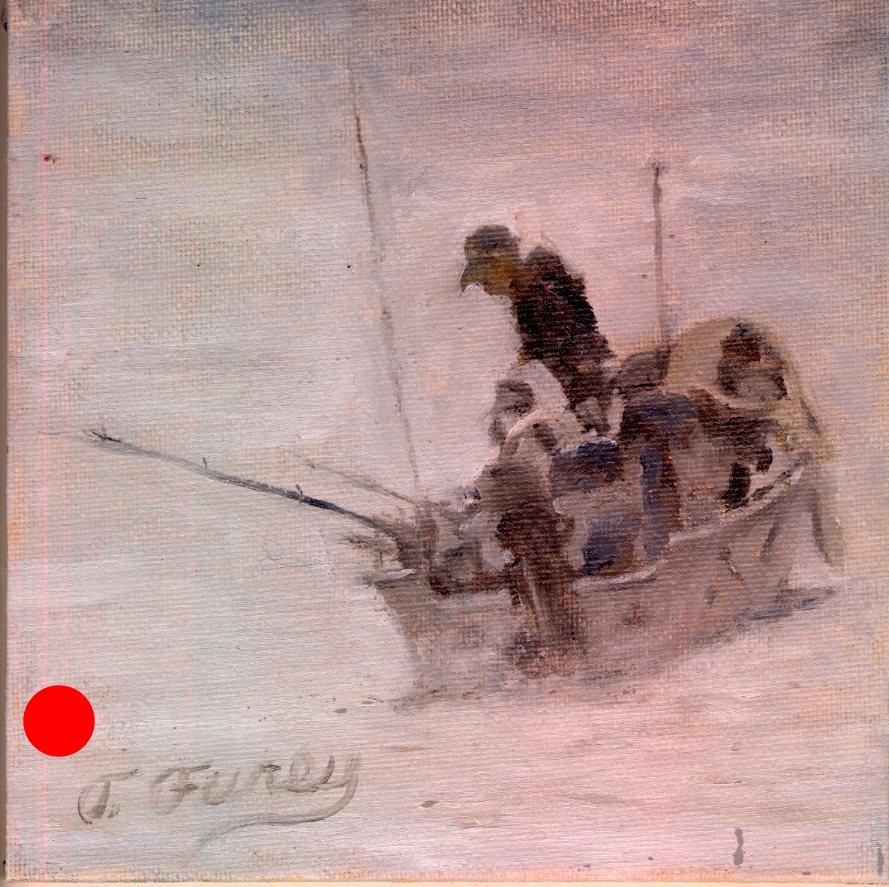 "Fog Challenge, Alla Prima Oil Painting on Board, 6"" x 6""."