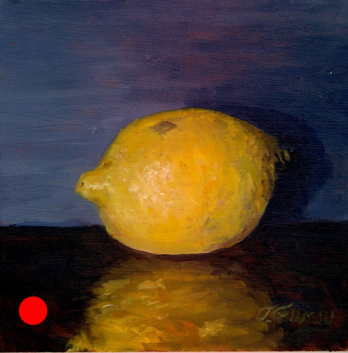 "Lonely Lemon, Alla Prima Oil Painting on Board, 8"" x 8""."