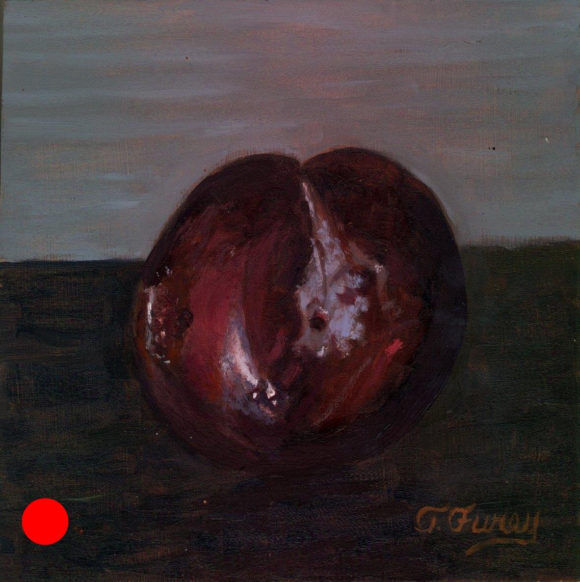 "PLUM FINAL, Alla Prima Oil Painting on Board, 8"" x 8""."