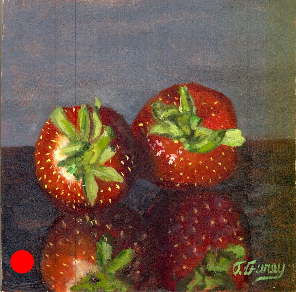"Two Strawberries, Alla Prima Oil Painting on Panel, 8"" x 8""."