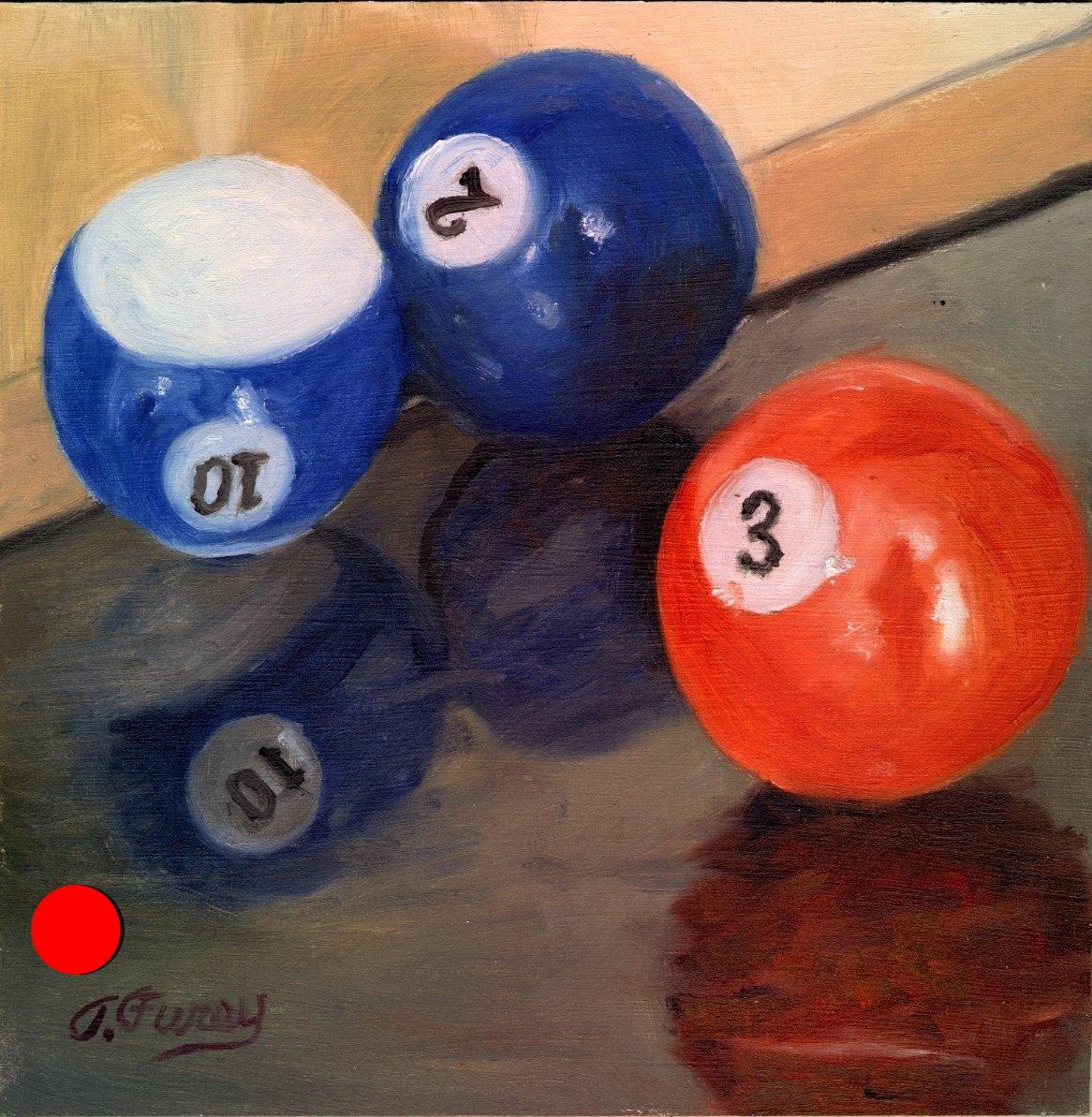 "Three Pool Balls, Alla Prima Oil Painting on Board, 8"" x 8""."