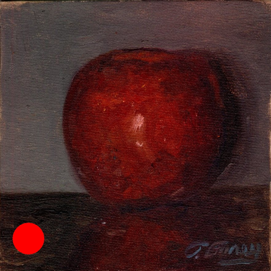 "RED APPLE FINAL"", Alla Prima Oil Painting on Panel, 6"" x 6""."