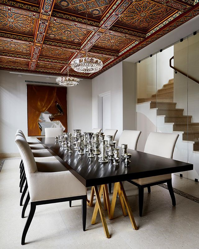 We could never have imagined a better setting for our furniture. A custom 14' version of our Golden Blaze dining table with ebonized walnut top and 23K gilt steel legs.