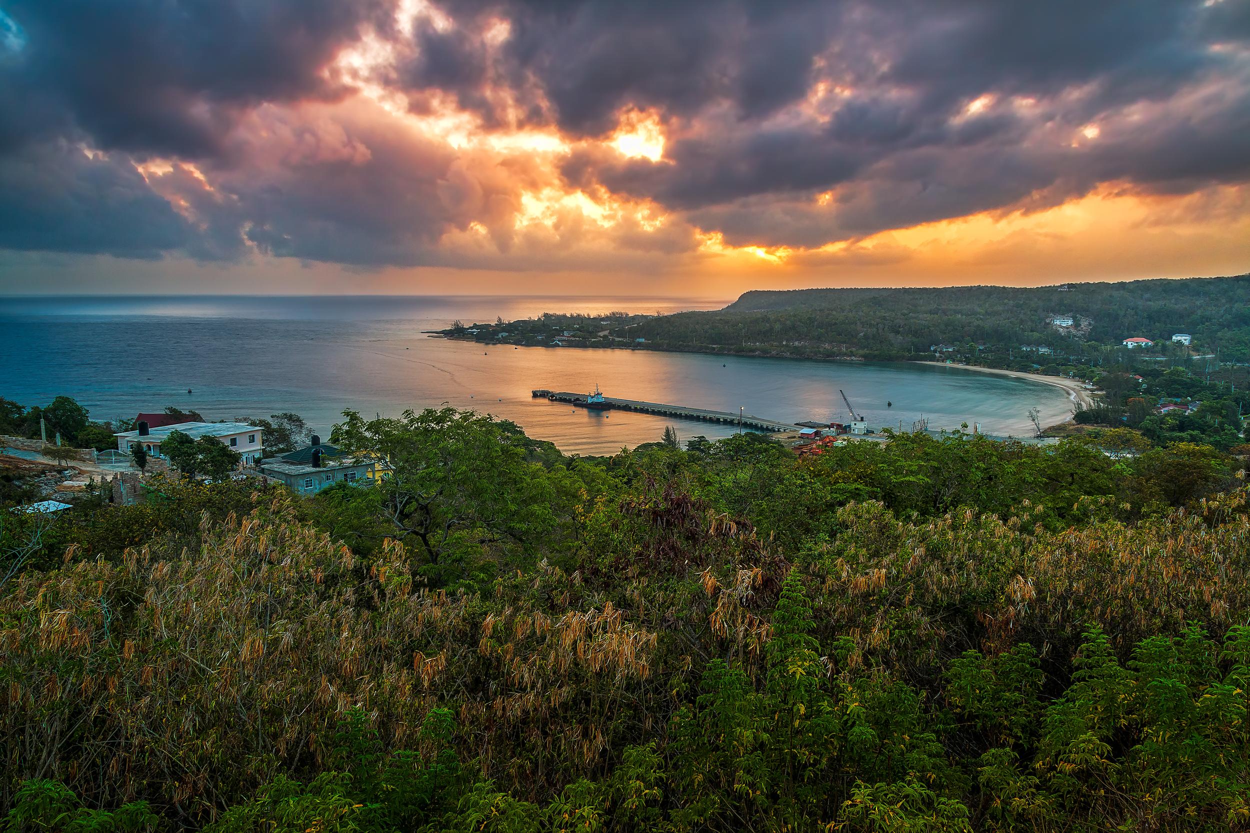 Sunrise view from Rio Bueno in Trelawny, Jamaica
