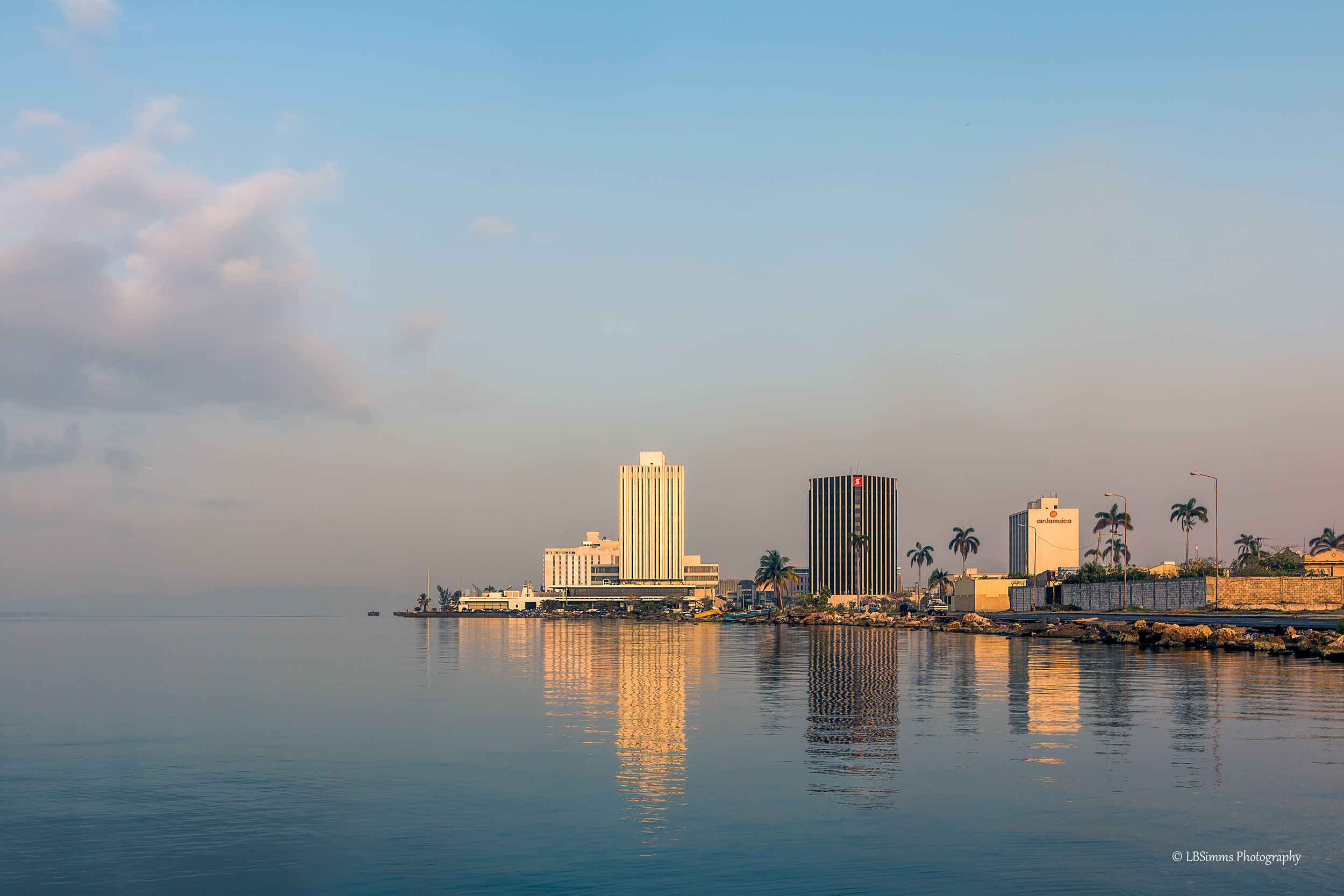 Reflections on the Kingston Harbour in Kingston, Jamaica.