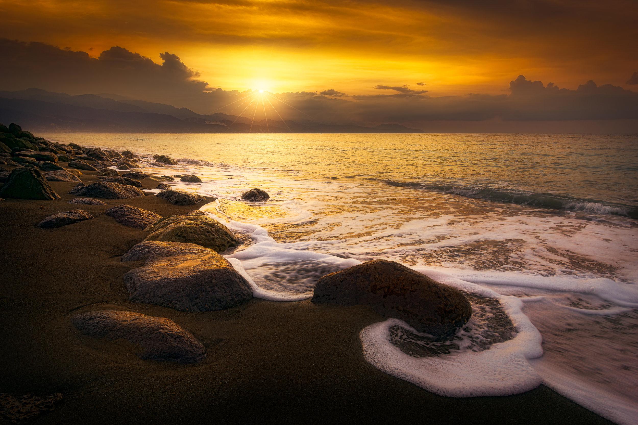 Sunrise along the Beach at Palisadoes, Kingston, Jamaica.