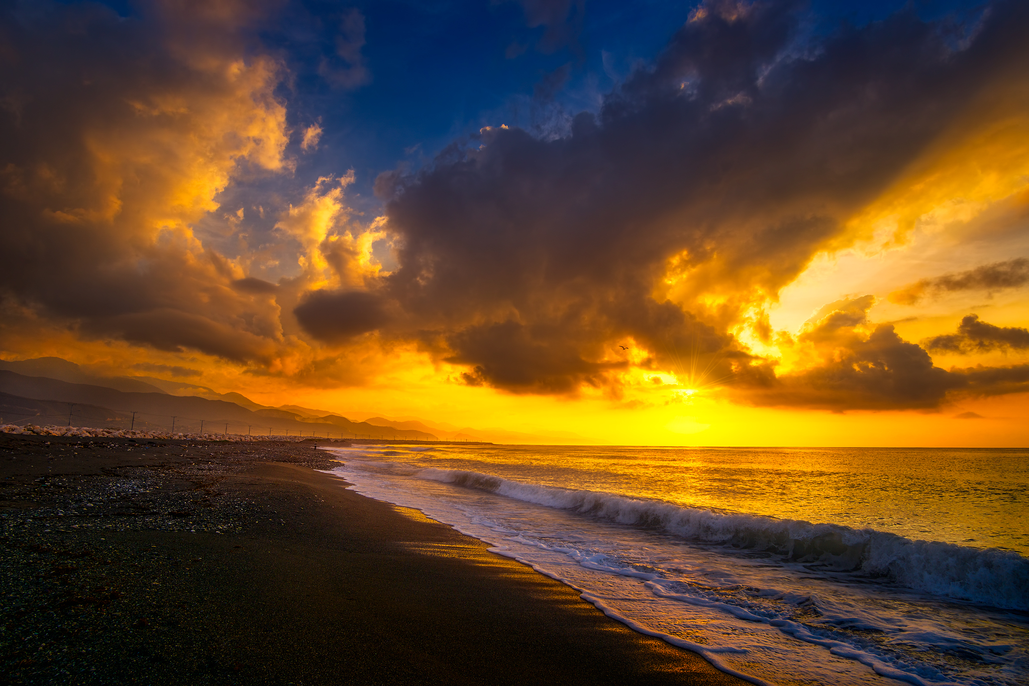 Sunrise along the beach at Palisadoes in Kingston, Jamaica.