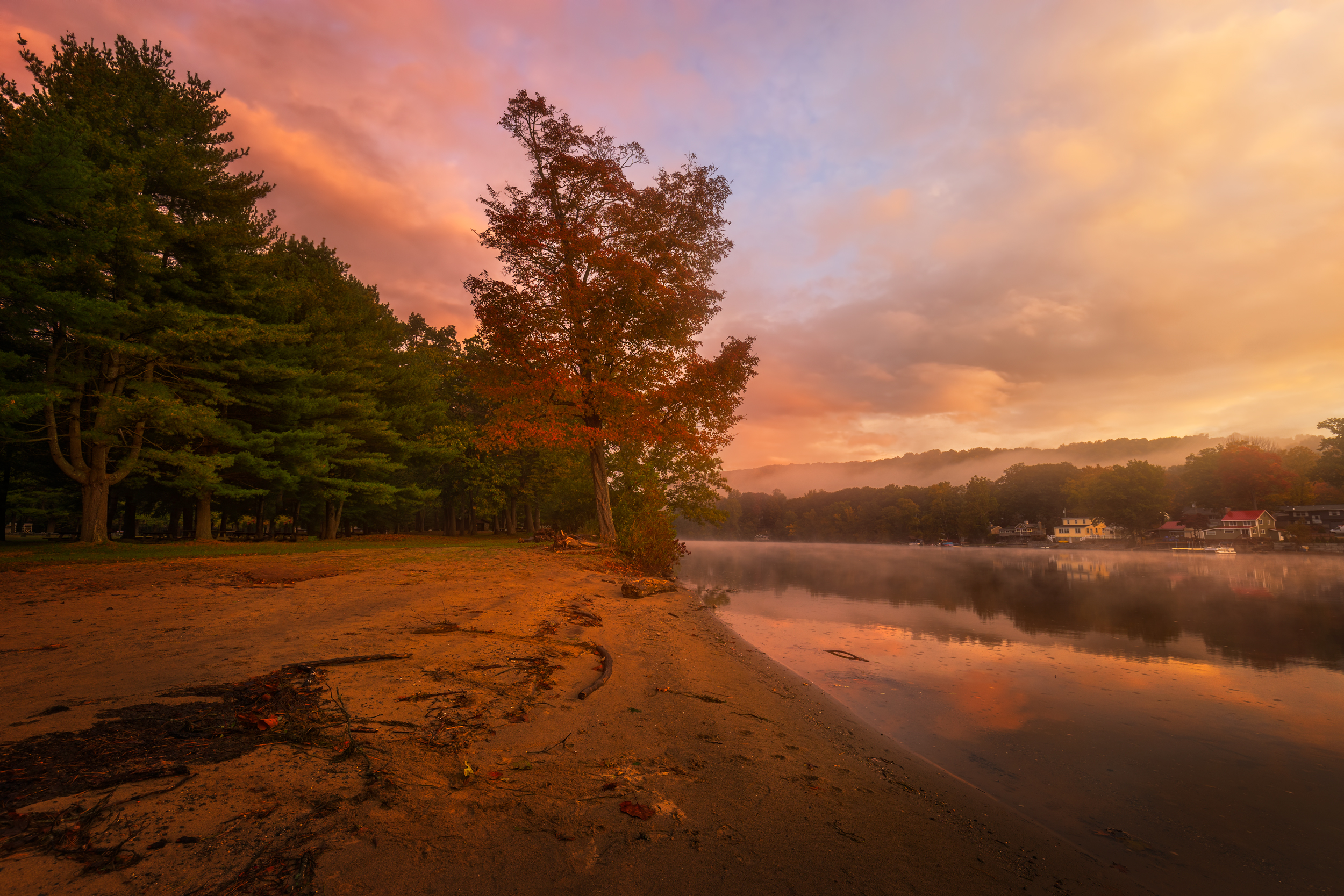 A beautiful Autumn morning at Indian Well State Park in Shelton, Connecticut, USA.