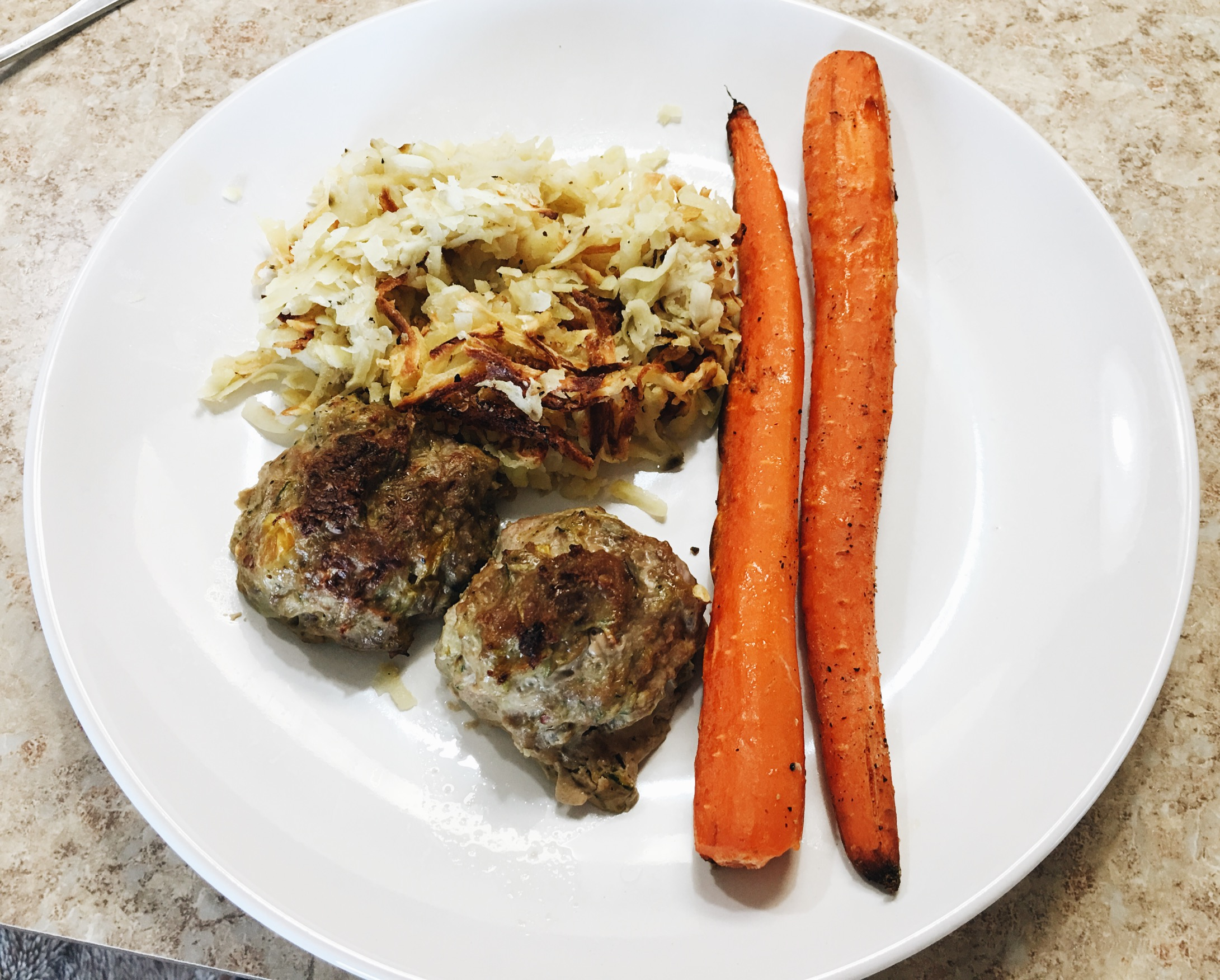 Turkey meatballs same as above. White sweet potato hash. Roasted carrots.