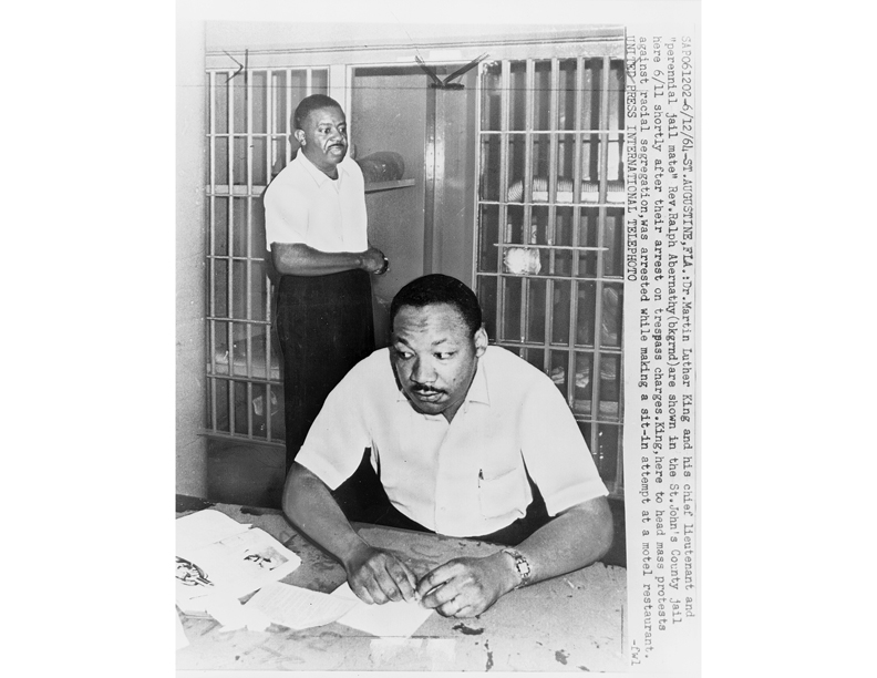 Dr. King in a St. Augustine jail. He would go to Yale University two days after his release to receive an honorary doctorate degree.