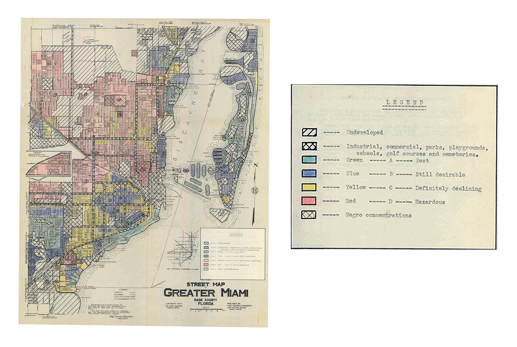 1934 HOLC Red-Line map produced by the federal government dictating housing lending policy. Red areas (Negro concentrations) were deemed hazardous and never received loans.