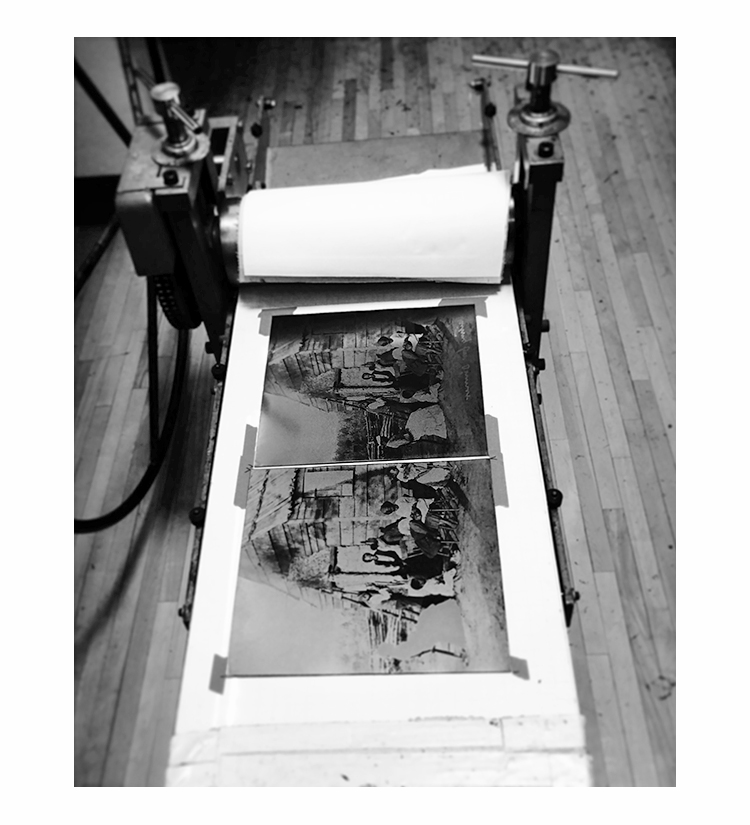 """The above images are all studies for the upcoming series. The final large scale 30"""" x 44"""" stereo prints will be made using a mixed print technique. The archival image will be made by the artist as a photogravure from a hand wiped plate printed on an etching press. This 19th century process renders a photo quality hand printed image."""