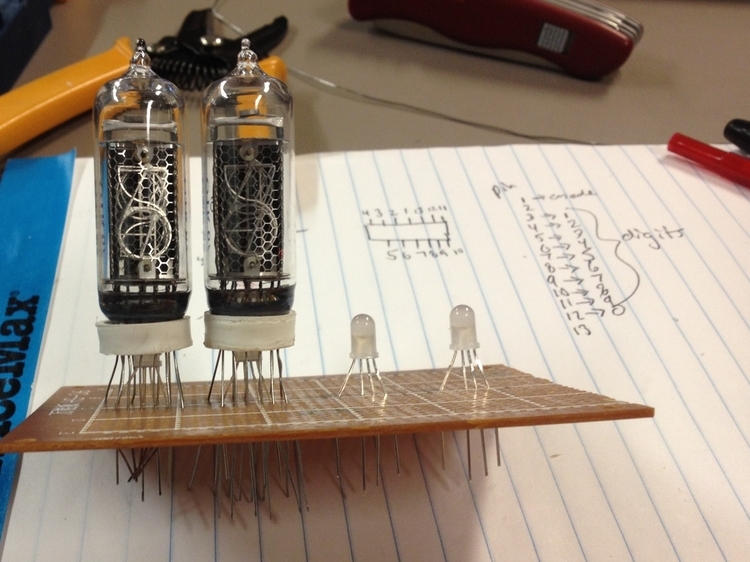 Soldering the Nixie tubes & RGB LEDs onto a perfboard.