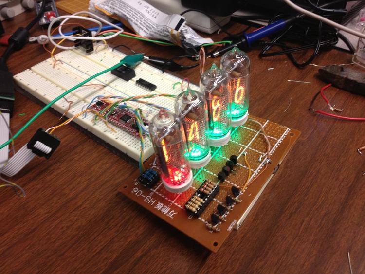 Testing display board. Microcontroller is a Wytec Dragonfly12 (HCS12 DIP module)