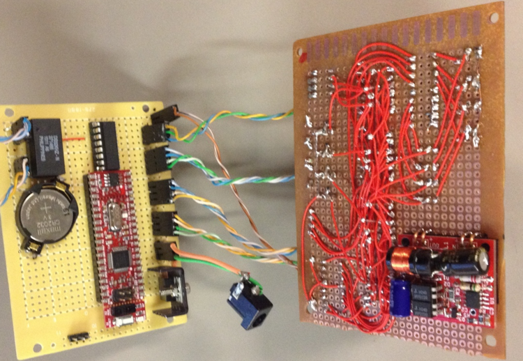 Timing circuitry added to lower board.