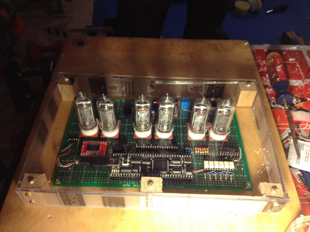 Mounting the clock in a plexiglass case.