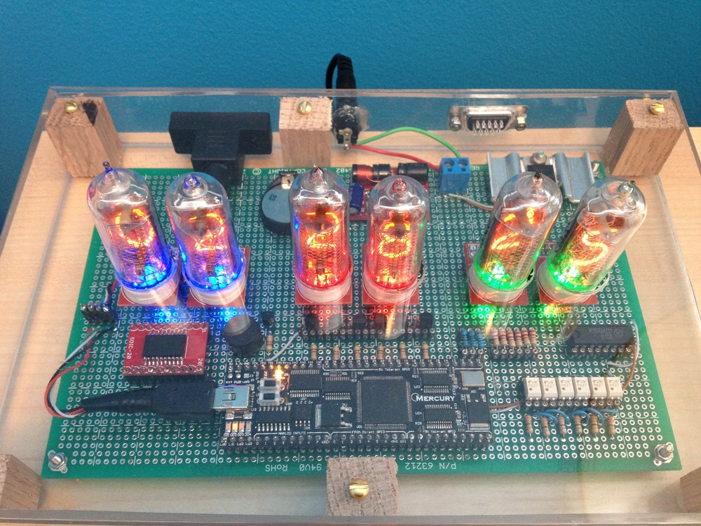 Top view of the completed Nixie clock.