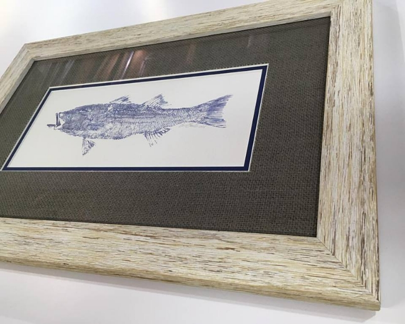 We framed up this great print a customer picked up at Nantucket! Beautiful distressed frame and grey burlap mat make it look extra salty, sea dog!!