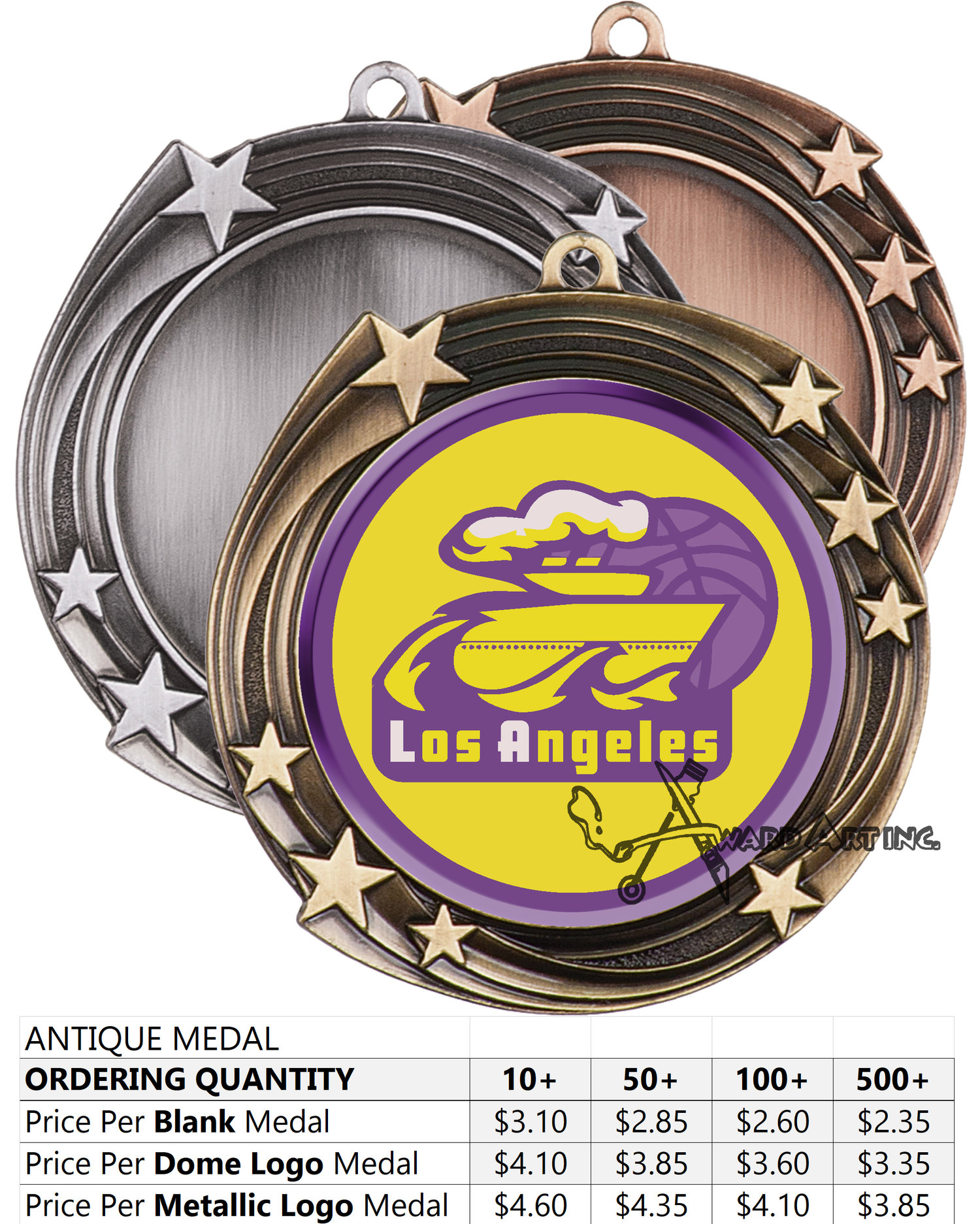 Gold / Silver / Bronze & Antique Medallions — AWARD ART INC