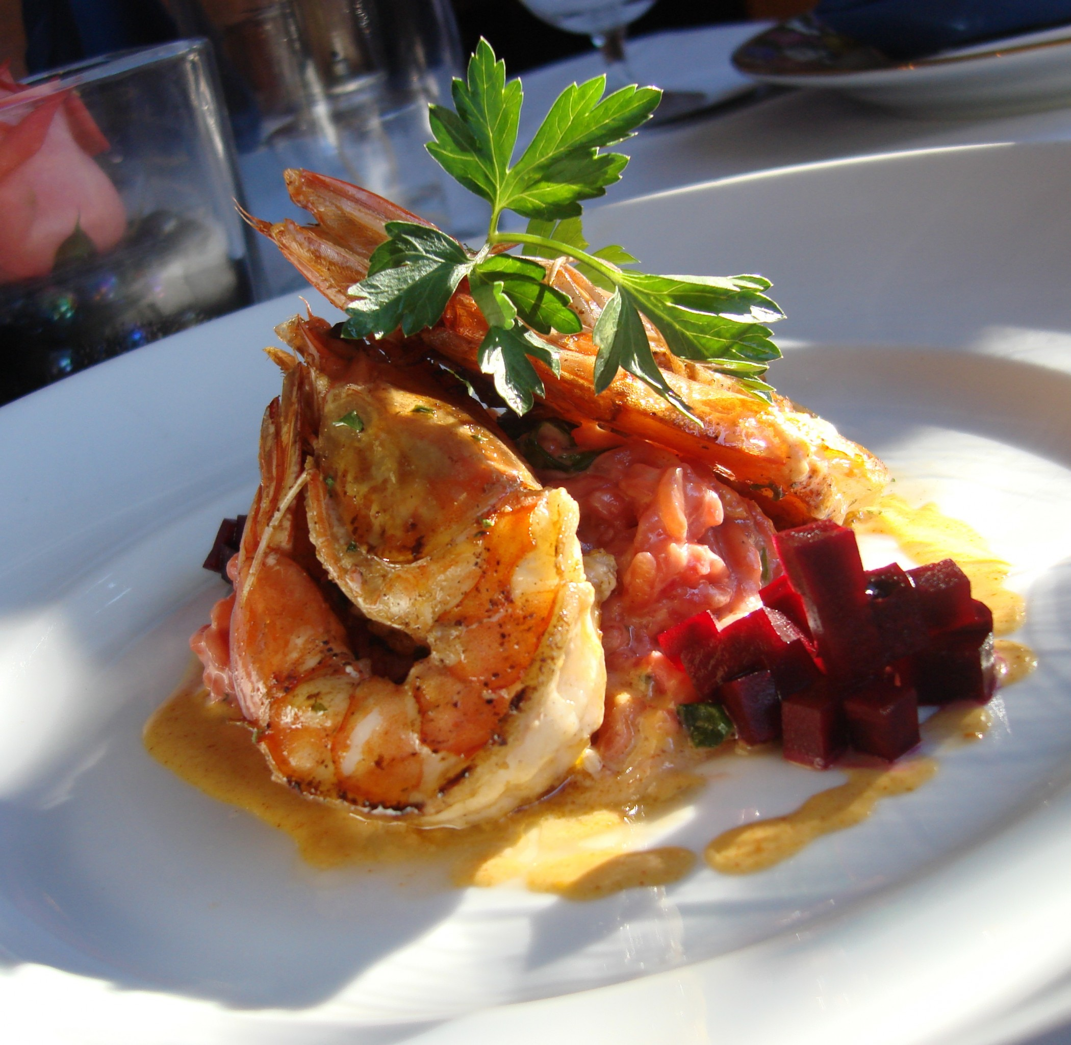 Pan-seared fresh Kauai prawns with beet risotto at Chef Chai