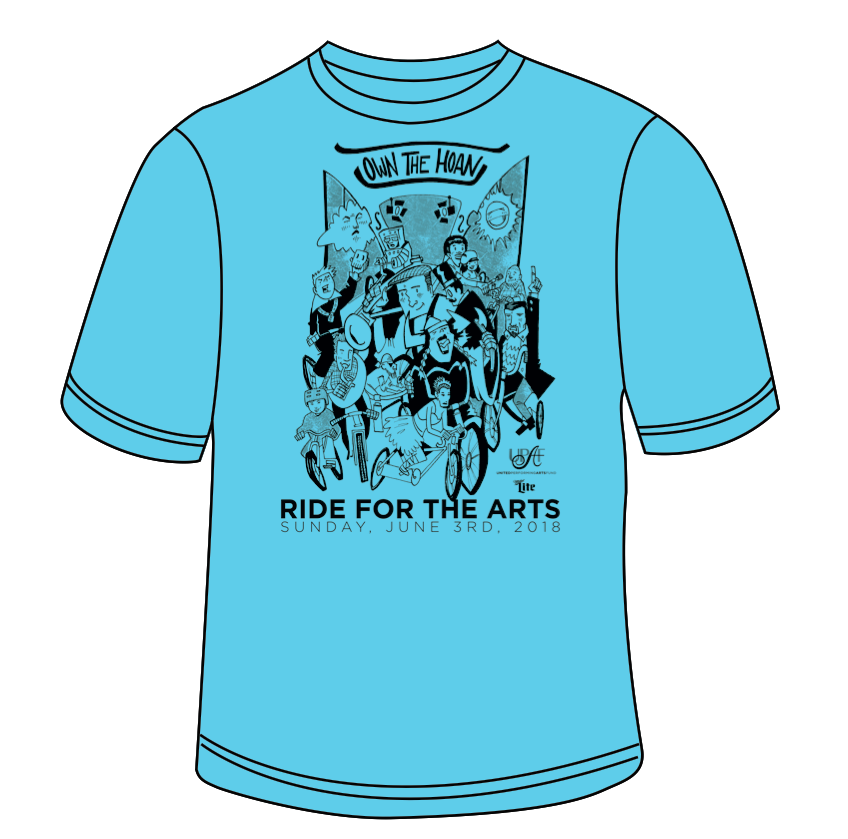 2018 UPAF Ride For The Arts T-Shirt Mock-up