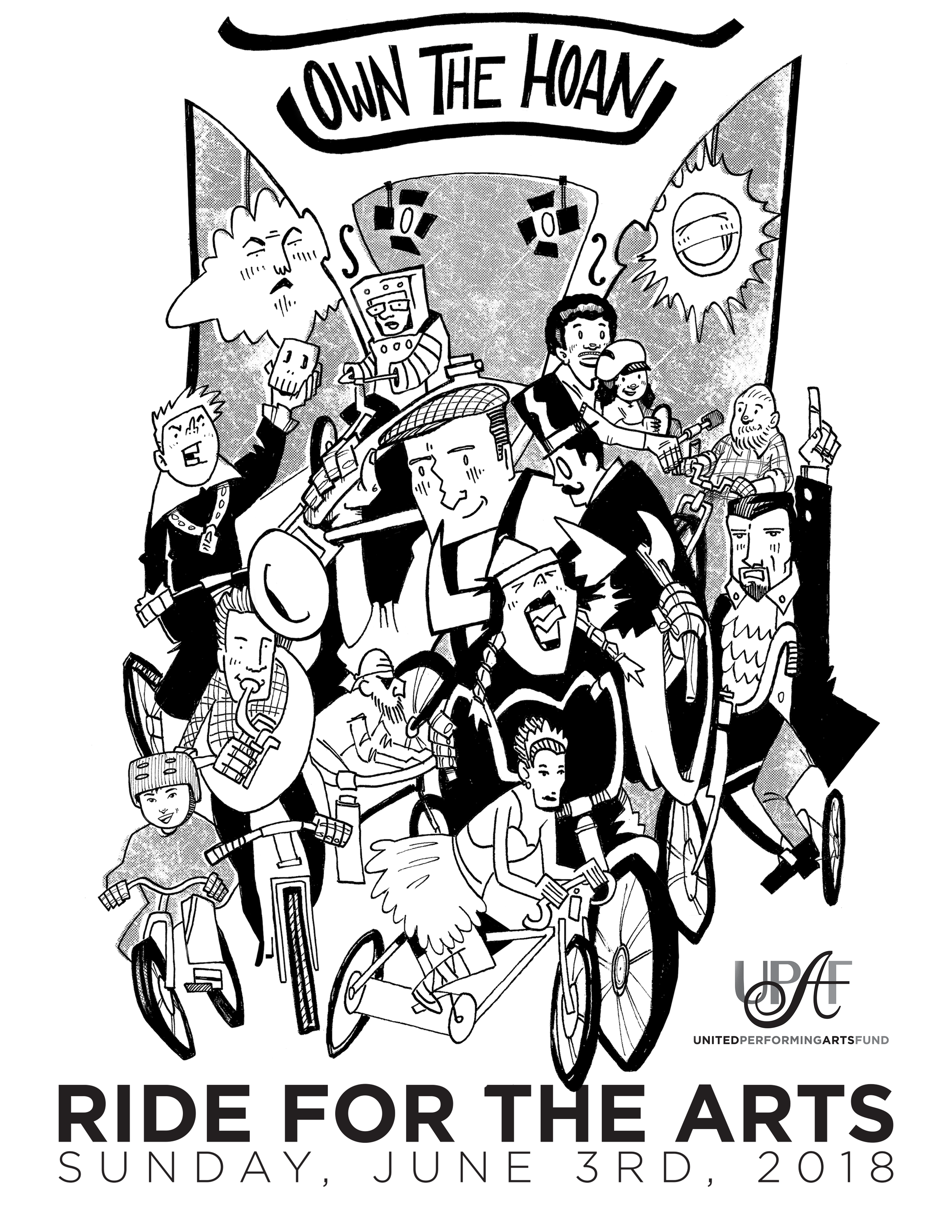 2018 UPAF Ride For The Arts T-Shirt Design