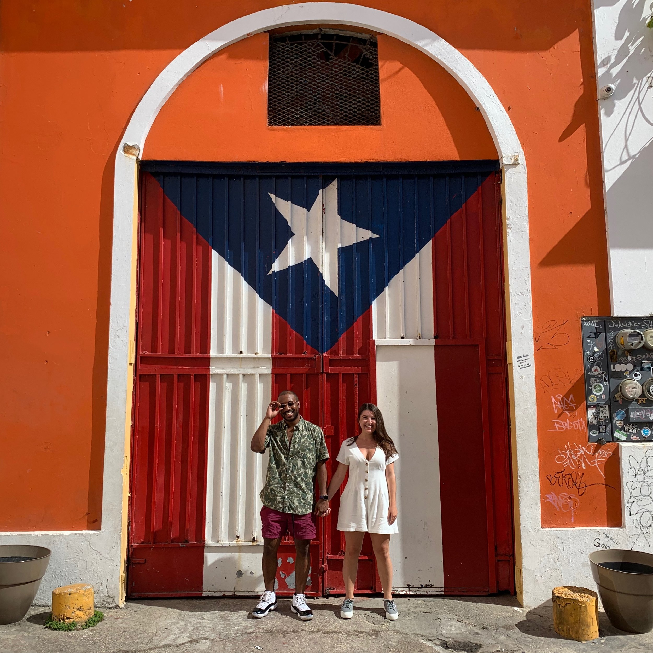 See the big Puerto Rican flag mural on Calle Imperial