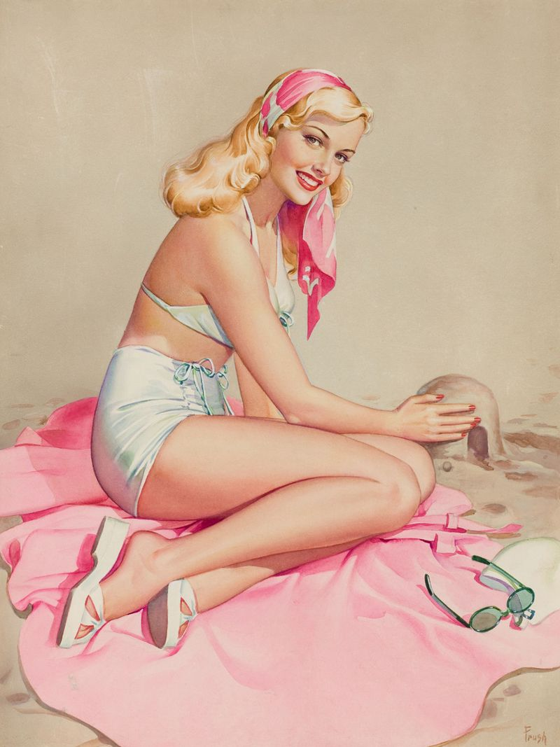 Pin up girl w szortach / Albert Vargas