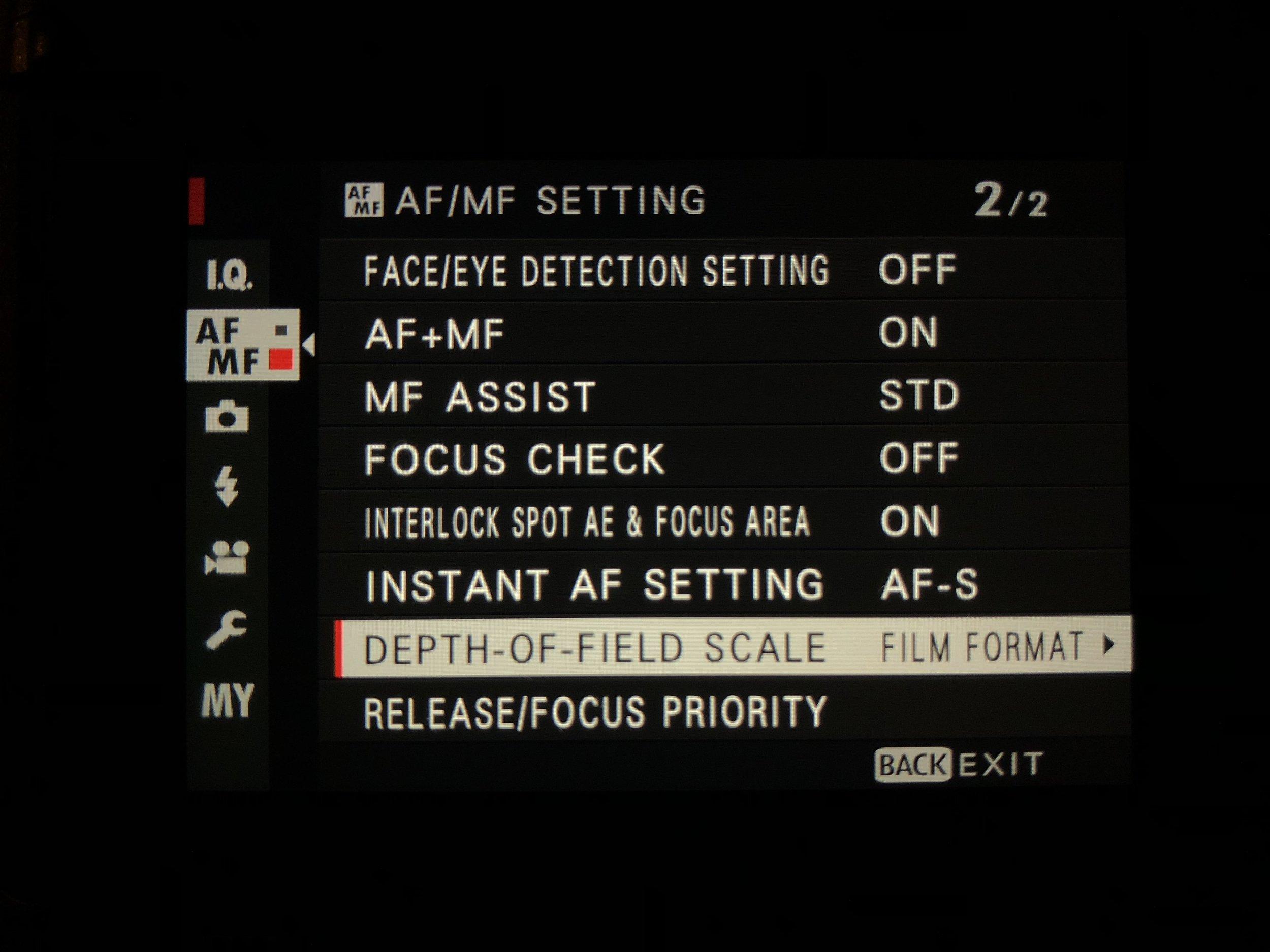 Set DoF Scale - AF/MF Setting menu>Depth-Of-Field Scale>Film Format Basis