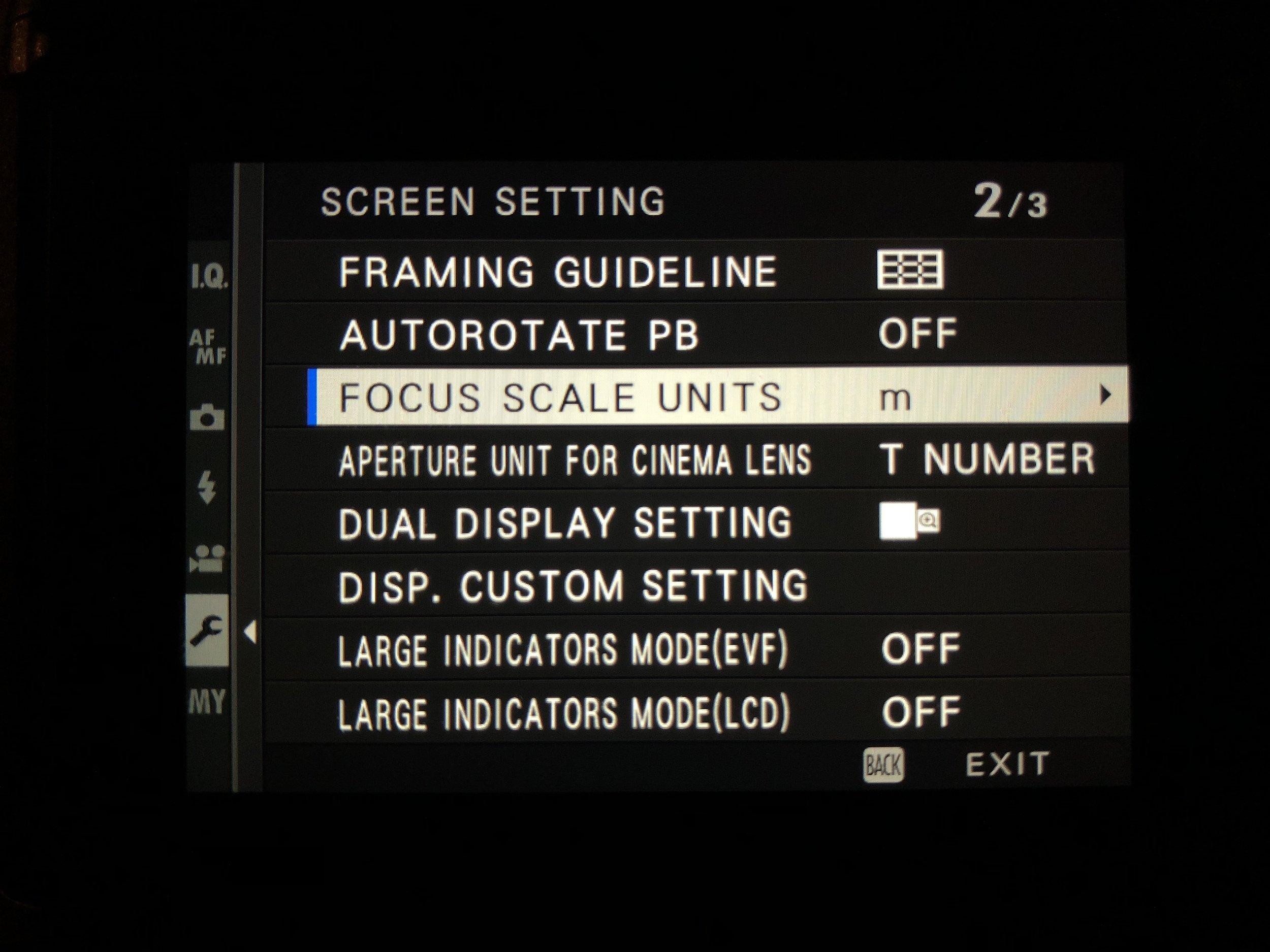Set Focus Scale Units - Set Up>Screen Set-Up>Focus Scale Units>m
